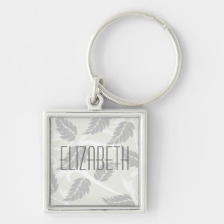 Leaves & Swirls Neutral Silver-Colored Square Keychain