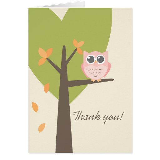Leaves Tree Pink Owl Autumn Baby Shower Thank You Greeting Card