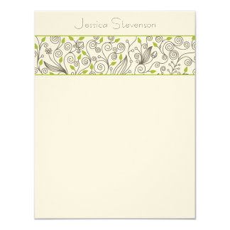 Leaves & Vines Flat Note Card (green)