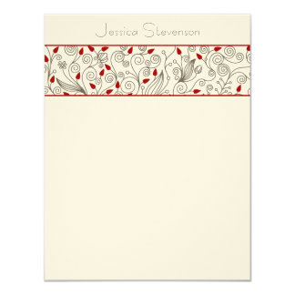Leaves & Vines Flat Note Card (red)
