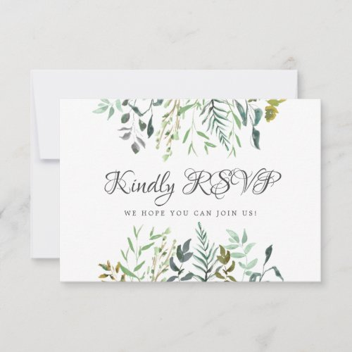 Leaves Wedding Reply with Song Request Meal Choice RSVP Card