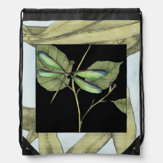 Leaves with Dragonfly Inset by Jennifer Goldberger Drawstring Bag