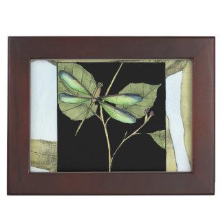 Leaves with Dragonfly Inset by Jennifer Goldberger Keepsake Box