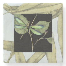 Leaves with Dragonfly Inset by Jennifer Goldberger Stone Coaster