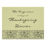 Leaves Wood Carving Thanksgiving Dinner Invitation