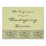 "Leaves Wood Carving Thanksgiving Dinner Invitation 4.25"" X 5.5"" Invitation Card"