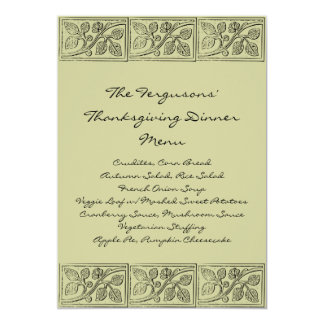 Leaves Wood Carving Thanksgiving Dinner Menu 5x7 Paper Invitation Card