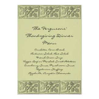 Leaves Wood Carving Thanksgiving Dinner Menu Card