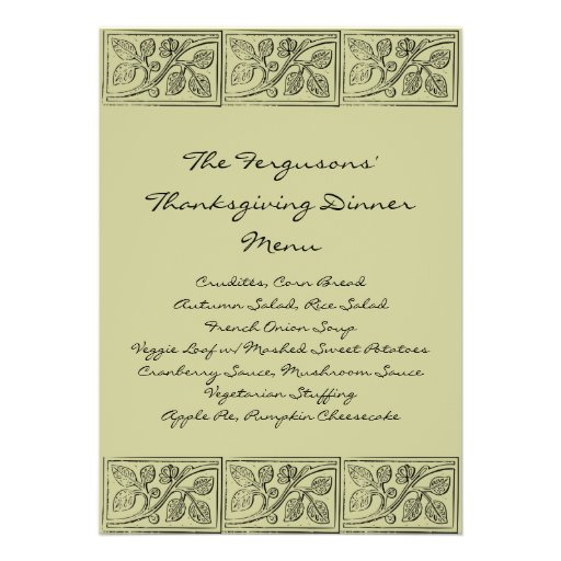 Leaves Wood Carving Thanksgiving Dinner Menu Personalized Announcements