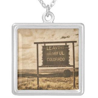 leaving colorful colorado square pendant necklace