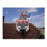 Leaving the Oklahoma City Stockyards Postcard
