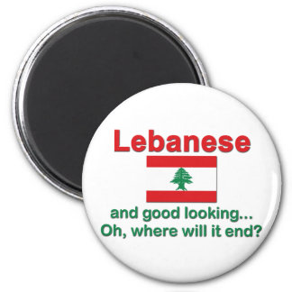 Lebanese and Good Looking 2 Inch Round Magnet