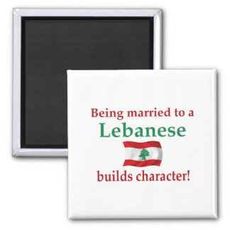 Lebanese Builds Character 2 Inch Square Magnet