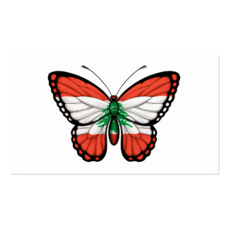 Lebanese Butterfly Flag Business Card Template