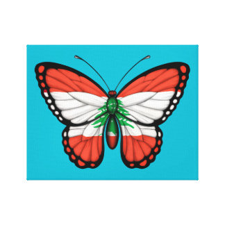 Lebanese Butterfly Flag Canvas Print