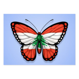Lebanese Butterfly Flag on Blue Business Card Templates