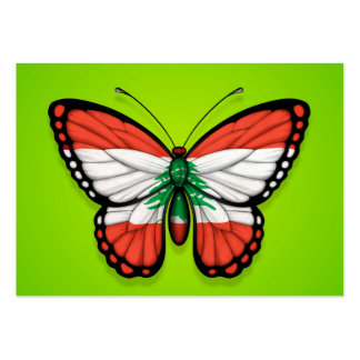 Lebanese Butterfly Flag on Green Business Card Templates