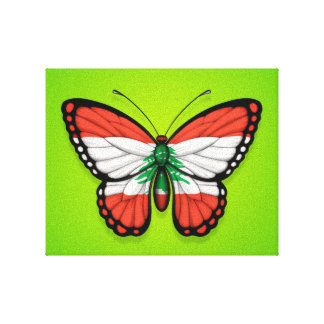 Lebanese Butterfly Flag on Green Stretched Canvas Prints