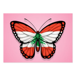 Lebanese Butterfly Flag on Pink Business Card Templates