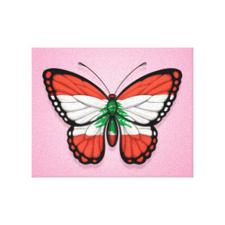 Lebanese Butterfly Flag on Pink Stretched Canvas Print
