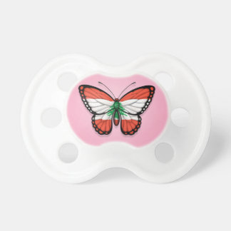 Lebanese Butterfly Flag on Pink Pacifier