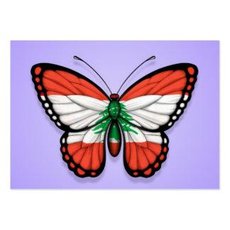 Lebanese Butterfly Flag on Purple Business Card