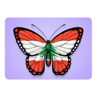 "Lebanese Butterfly Flag on Purple 5"" X 7"" Invitation Card"