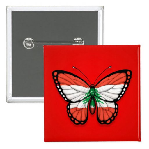 Lebanese Butterfly Flag on Red 2 Inch Square Button