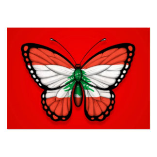 Lebanese Butterfly Flag on Red Business Card