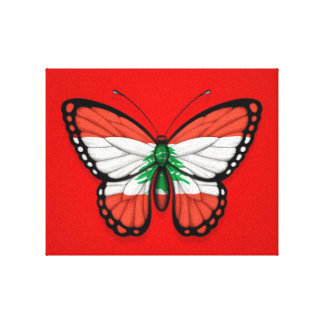 Lebanese Butterfly Flag on Red Gallery Wrapped Canvas