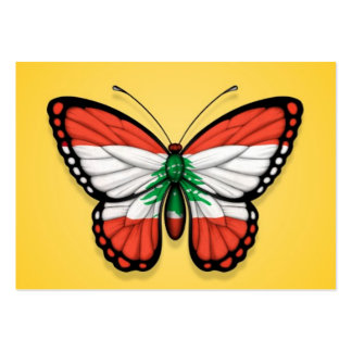 Lebanese Butterfly Flag on Yellow Business Card Template