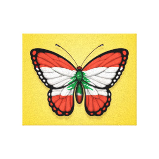 Lebanese Butterfly Flag on Yellow Gallery Wrapped Canvas