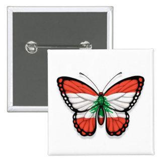 Lebanese Butterfly Flag Pinback Button