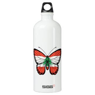 Lebanese Butterfly Flag Water Bottle
