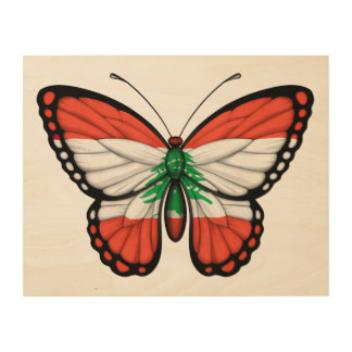 Lebanese Butterfly Flag Wood Prints
