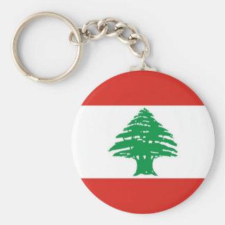 Lebanese Flag Basic Round Button Keychain