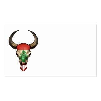 Lebanese Flag Bull Skull Business Card Templates