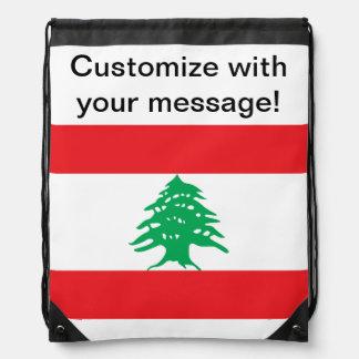Lebanese Flag Drawstring Backpack