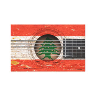 Lebanese Flag on Old Acoustic Guitar Stretched Canvas Print