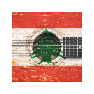 Lebanese Flag on Old Acoustic Guitar Canvas Prints