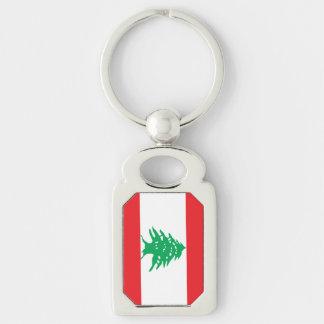 Lebanese Flag Silver-Colored Rectangular Metal Keychain