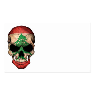 Lebanese Flag Skull Business Card Template