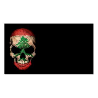 Lebanese Flag Skull on Black Business Cards