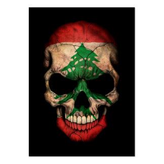 Lebanese Flag Skull on Black Business Card