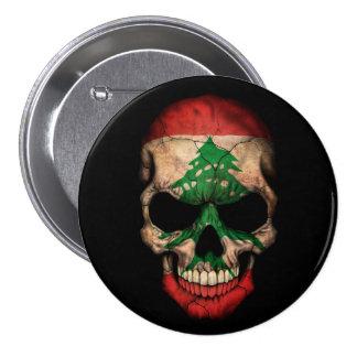 Lebanese Flag Skull on Black Button