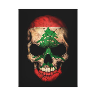 Lebanese Flag Skull on Black Canvas Print