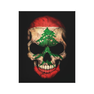 Lebanese Flag Skull on Black Gallery Wrap Canvas