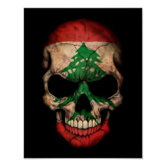 Lebanese Flag Skull on Black Posters