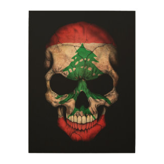 Lebanese Flag Skull on Black Wood Canvas