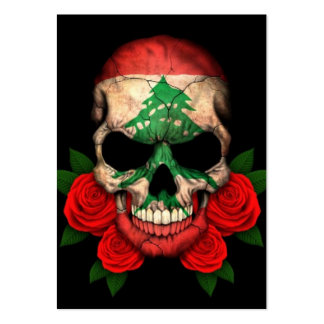 Lebanese Flag Skull with Red Roses Business Card Templates